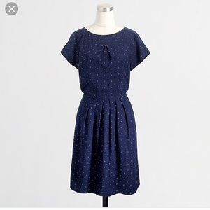 Jcrew Polka Dot Navy & Pink Dress with Pockets